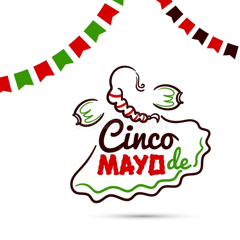 Cinco De Mayo With Woman stock illustratie