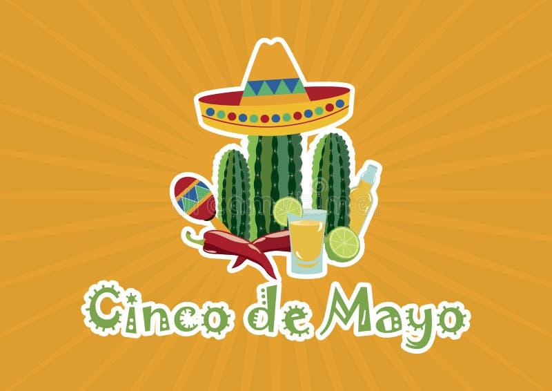 Cinco de Mayo z meksykańskimi projektów elementami wektorowymi