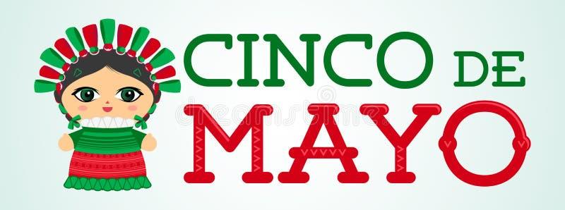 Cinco de Mayo z Meksyka?sk? lala wektoru ilustracj? ilustracji