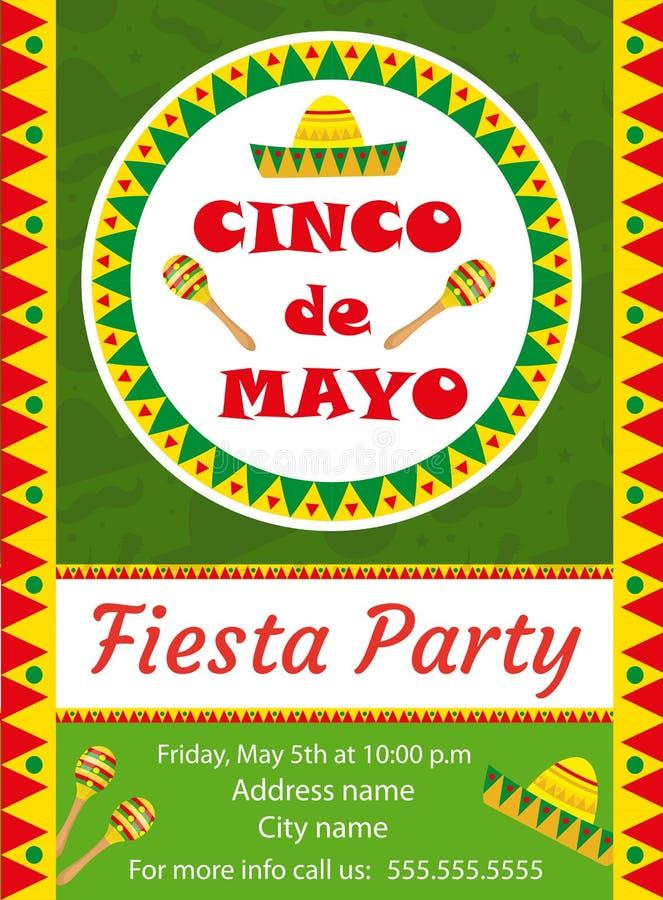 Cinco de Mayo zaproszenia szablon, ulotka Meksykańska wakacyjna pocztówka również zwrócić corel ilustracji wektora