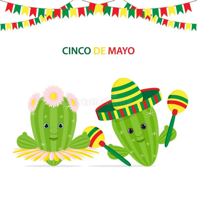 Cinco De Mayo, zielony kaktus z marakasów, sombrero i kaktusa dowcipem, royalty ilustracja