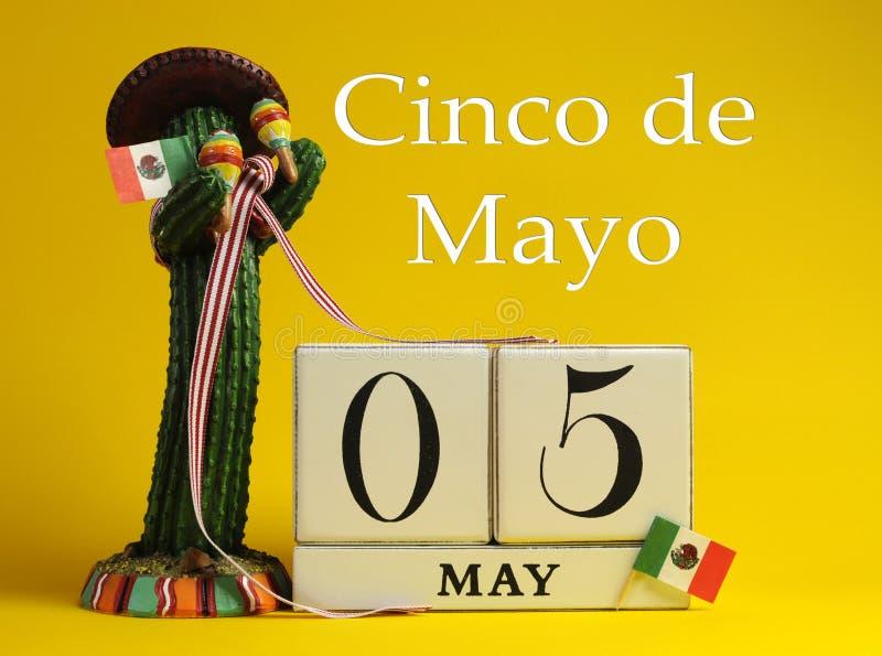 Cinco DE Mei, 5 Mei, kalender stock afbeelding