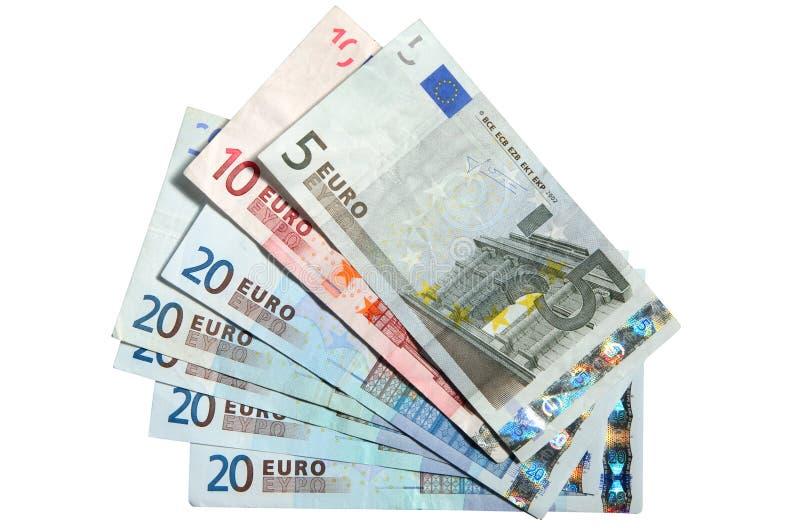 Cinco, dez e vinte euro. foto de stock