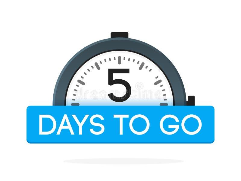 Cinco - dia a ir etiqueta, plano do despertador com fita azul, ícone da promoção, o melhor illustretion do vetor do símbolo do ne ilustração stock