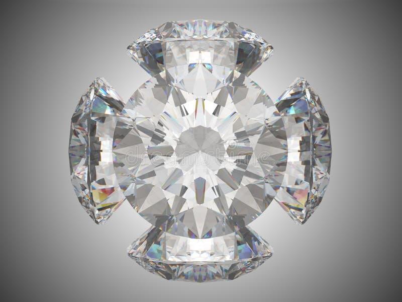 Cinco diamantes brilhantes do corte ilustração stock