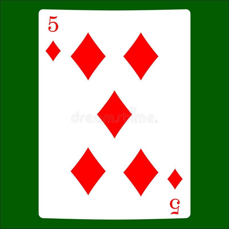 Cinco diamantes Carde el vector del icono del traje, vector de los símbolos de los naipes stock de ilustración