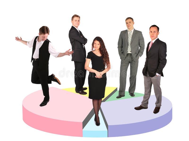 Cinco diversos hombres de negocios que se colocan en diagrama imagen de archivo