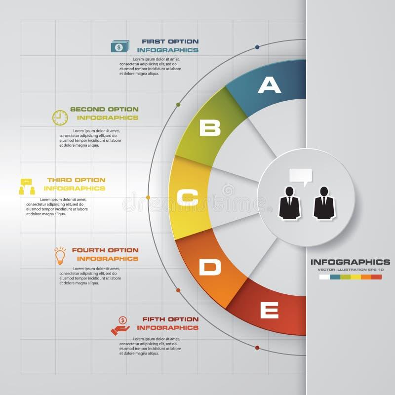 Cinco do vetor um - dois - três - quatro - as etapas progridem/processos EPS10 ilustração stock