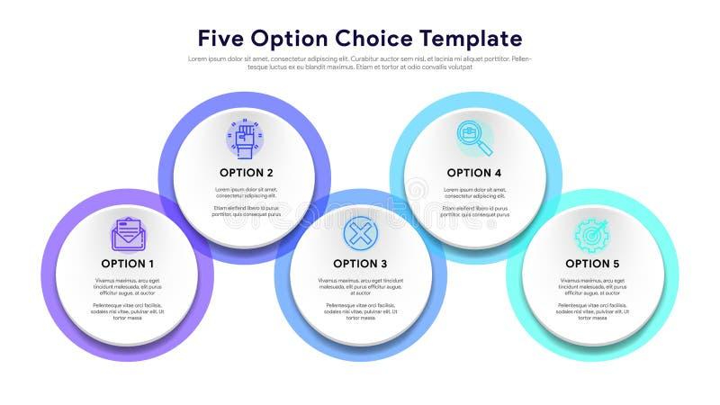 Cinco elementos circulares coloridos, linha fina pictograma e caixas de texto Conceito do modelo comercial da seta com 5 opções e ilustração stock