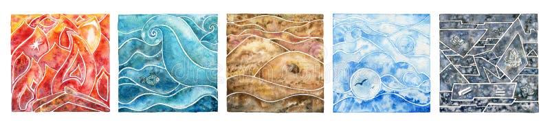 Cinco elementos: fogo, água, ar, terra e metal Grupo oriental ilustração stock