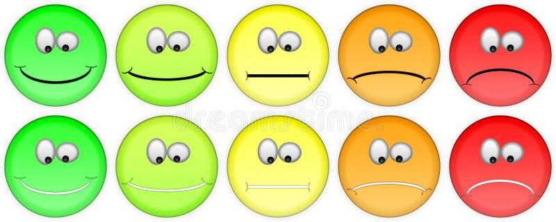 Cinco emojis de clasificación foto de archivo