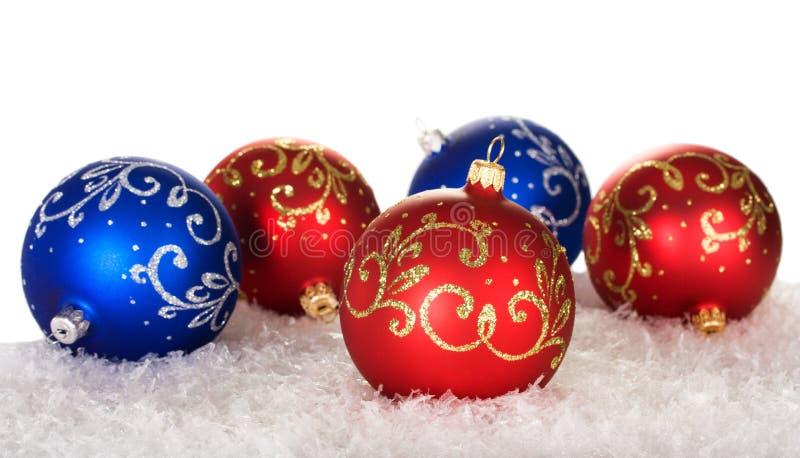 Cinco esferas do Natal com teste padrão foto de stock royalty free