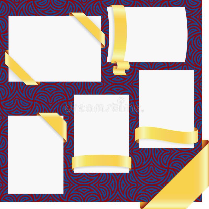 Cinco esquinas de la cinta de la paginación del oro stock de ilustración