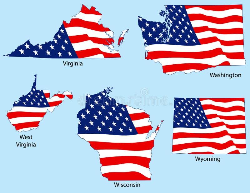 Cinco estados com bandeiras ilustração royalty free