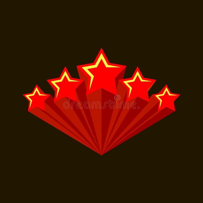 Cinco estrelas Burst de cinco estrelas vermelhas com trilhas voadoras retas Ampliar logotipo do Fireworks ilustração stock