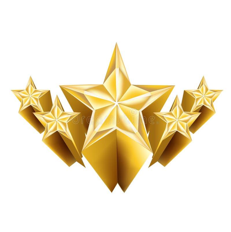 Cinco estrelas douradas dimensionais isoladas ilustração royalty free