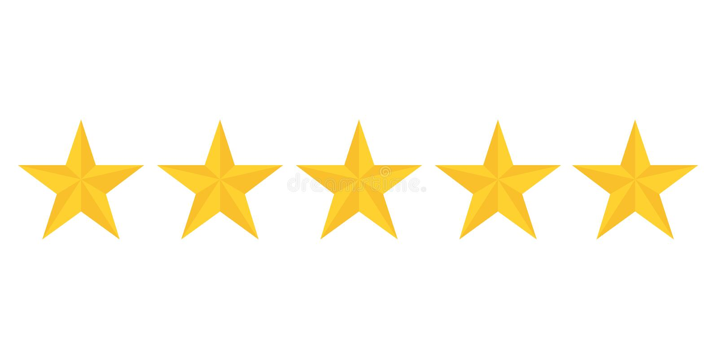 Cinco estrelas douradas que avaliam mostrando a melhor qualidade ilustração stock