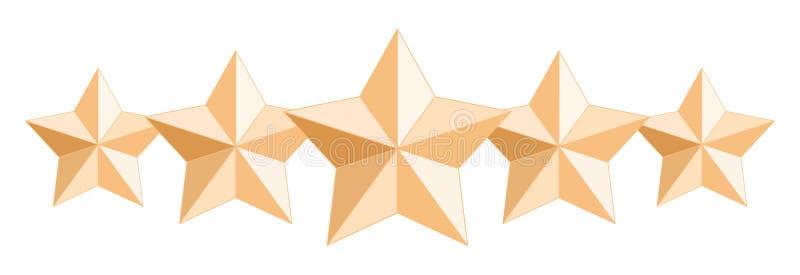 Cinco estrelas lustrosas realísticas do ouro Isolado no fundo transparente branco ilustração royalty free