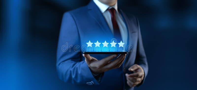 5 cinco estrelas que avaliam conceito do mercado do Internet da empresa de servi?os da revis?o de qualidade o melhor fotografia de stock royalty free