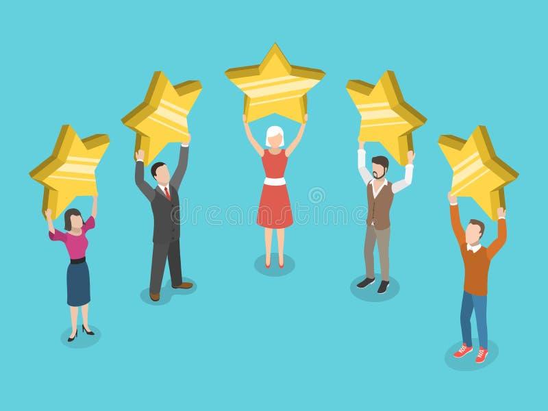 Cinco estrelas que avaliam o conceito isométrico liso do vetor ilustração royalty free