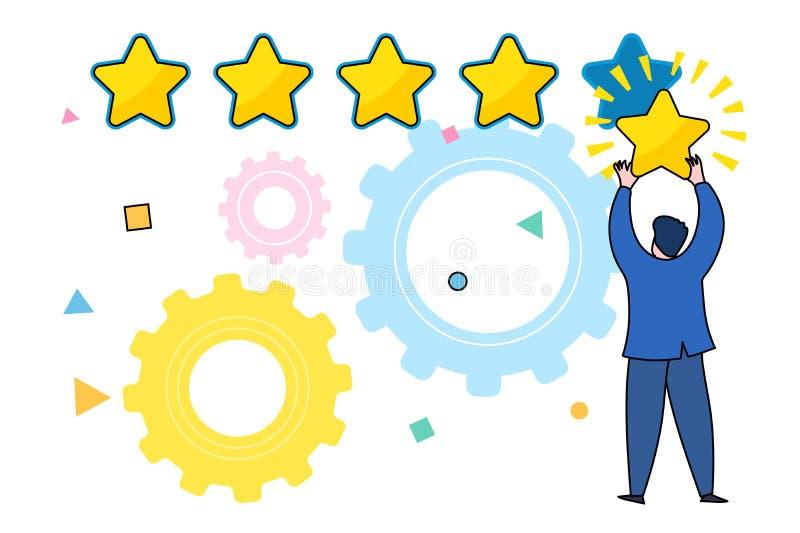 Cinco estrelas que avaliam o conceito liso do vetor do estilo ilustração do vetor