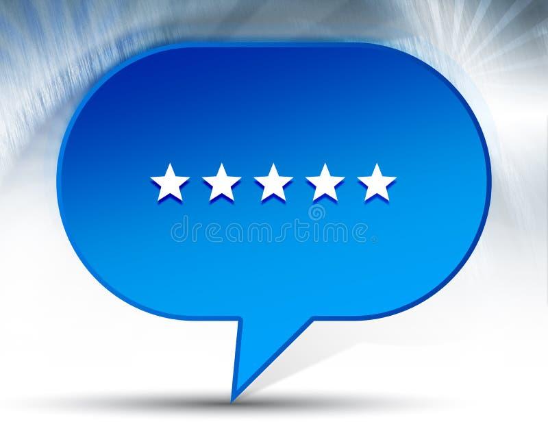 Cinco estrelas que avaliam o fundo azul da bolha do ícone ilustração do vetor