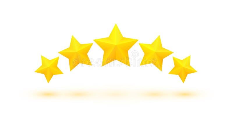 Cinco estrellas de oro ilustración del vector
