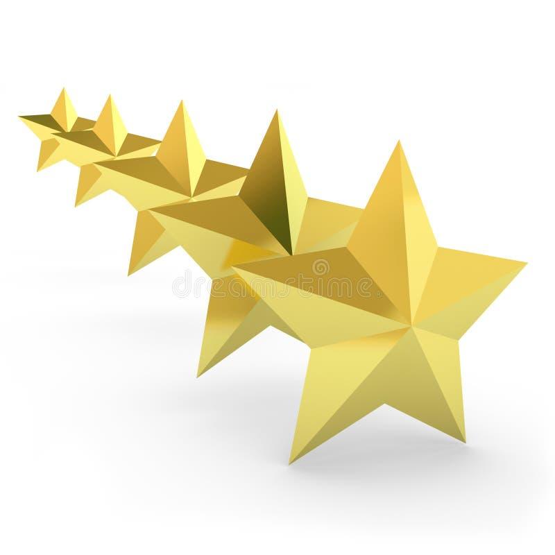 Cinco estrellas del oro en el fondo blanco ilustración del vector