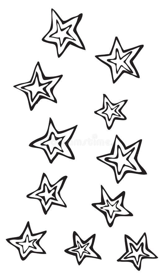 Cinco estrellas del punto con la estrella en línea, arte dibujado mano del vector de la diversión stock de ilustración