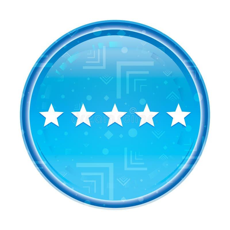 Cinco estrellas que valoran el botón redondo azul floral del icono ilustración del vector