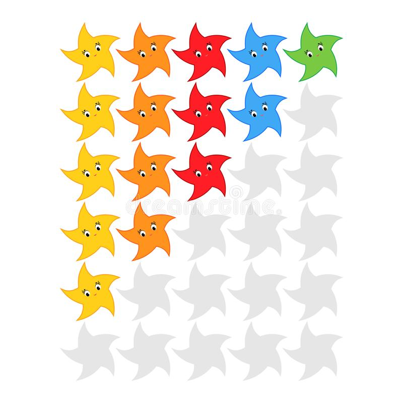 Cinco estrellas que valoran el icono Evaluación del hotel, servicio, producto, calidad Resultados o lifes llanos en el juego para ilustración del vector