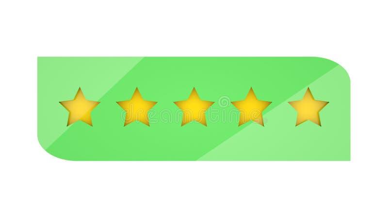 Cinco estrellas que valoran en el fondo blanco Para el web o el app stock de ilustración