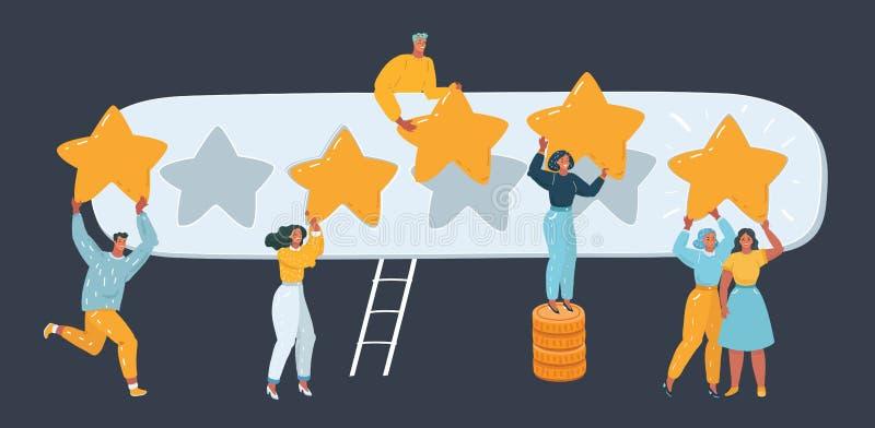 Cinco estrellas que valoran estilo plano stock de ilustración