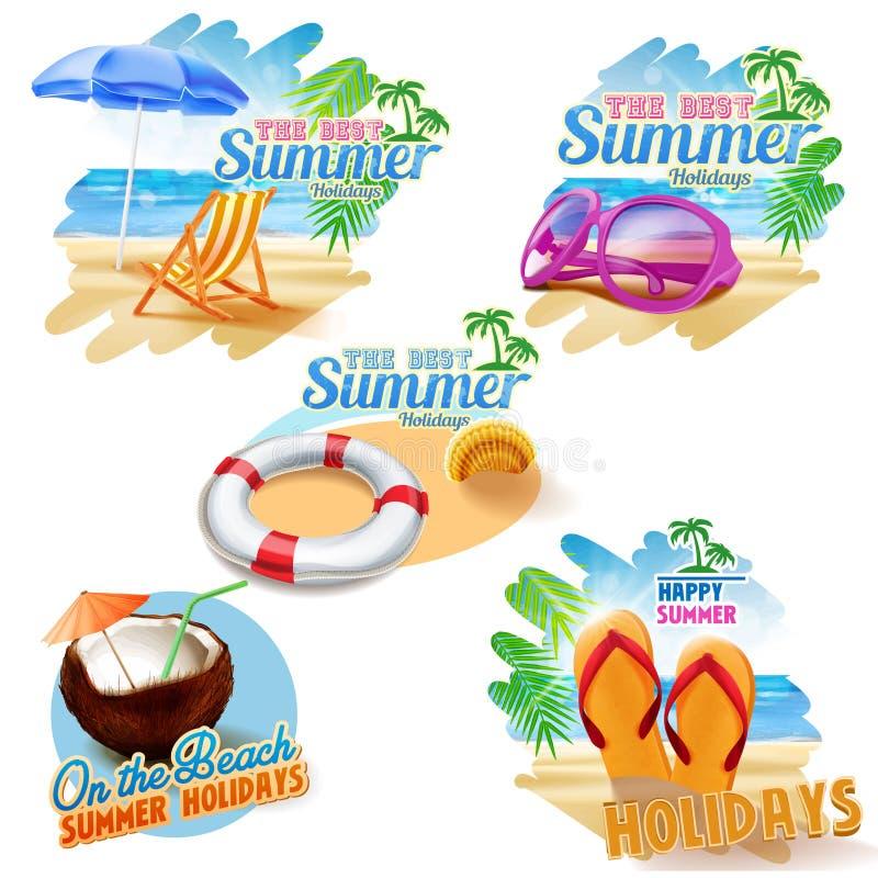 Cinco etiquetas engomadas para el verano ilustración del vector
