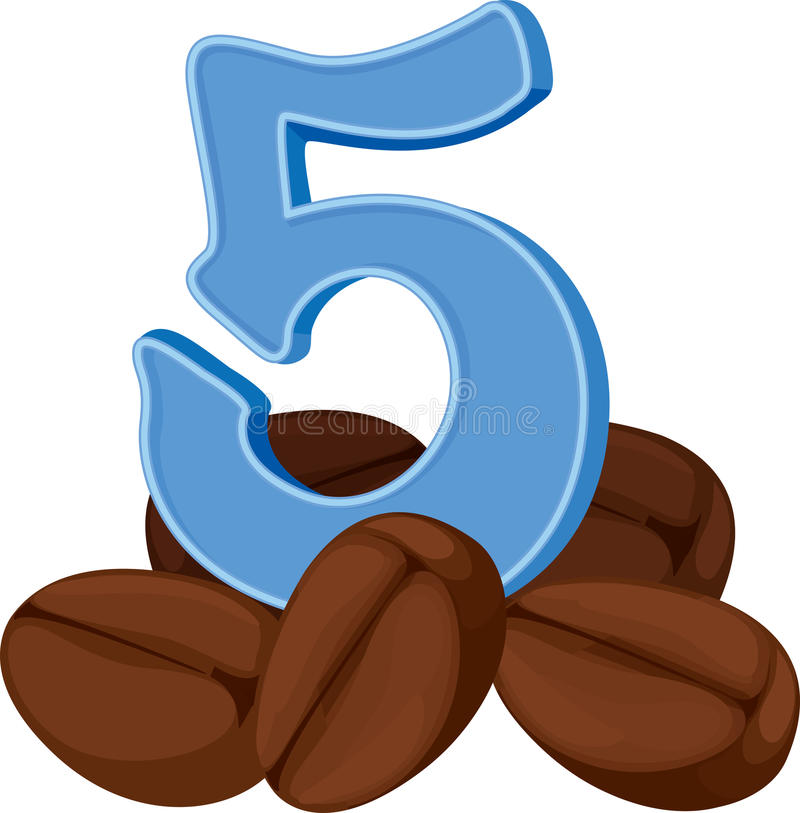 Cinco feijões de café ilustração stock