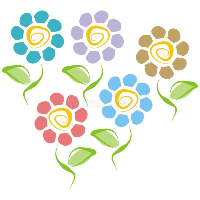 Cinco flores ilustración del vector
