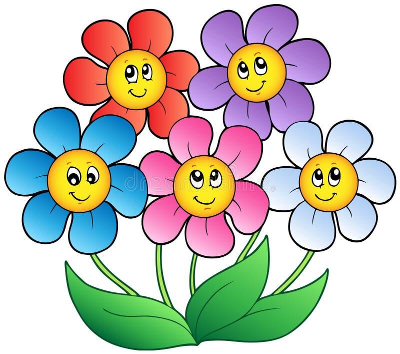 Cinco flores dos desenhos animados ilustração stock