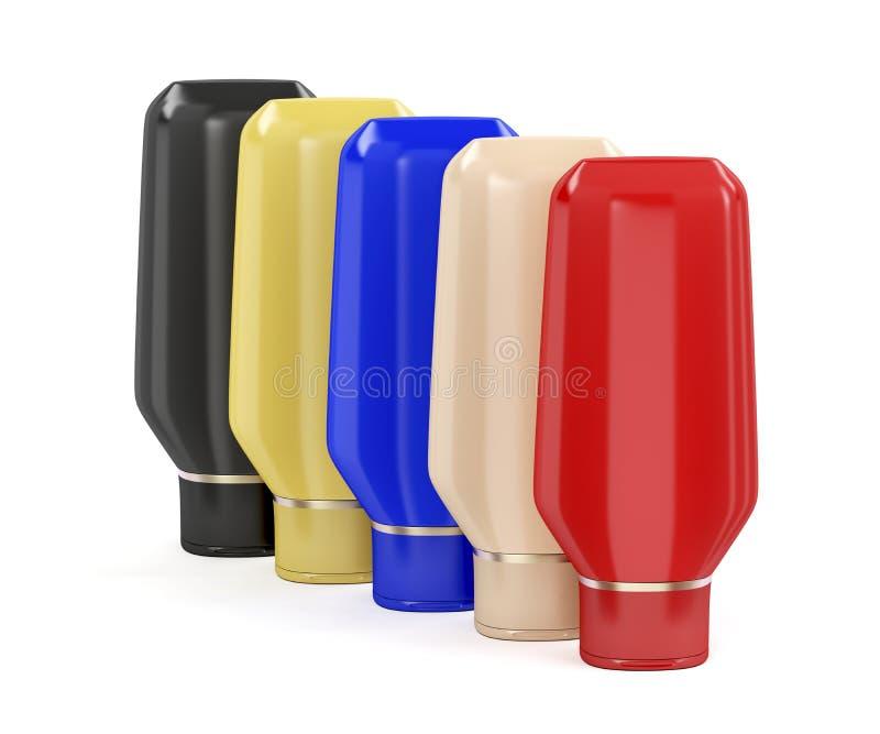 Cinco garrafas plásticas para produtos cosméticos ilustração royalty free