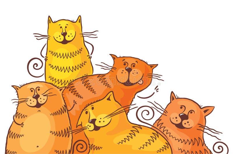 Cinco gatos gordos de la historieta stock de ilustración