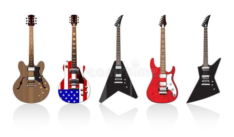Download Cinco Guitarra Elétricas Bonitas Ilustração do Vetor - Ilustração de bandeira, azuis: 16870759