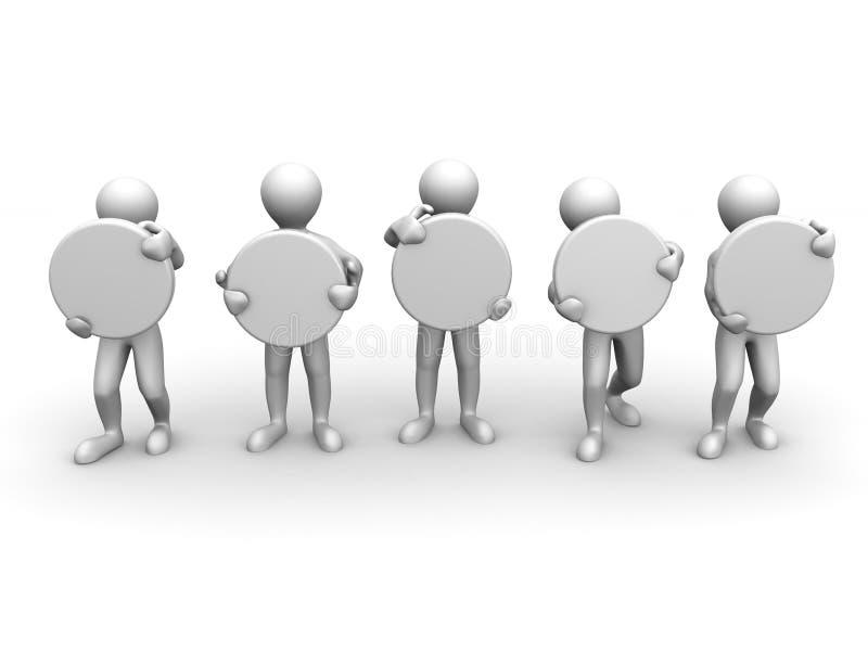 Cinco homens com espaço para o texto ilustração do vetor