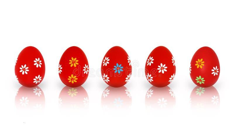 Cinco huevos de Pascua rojos imagen de archivo