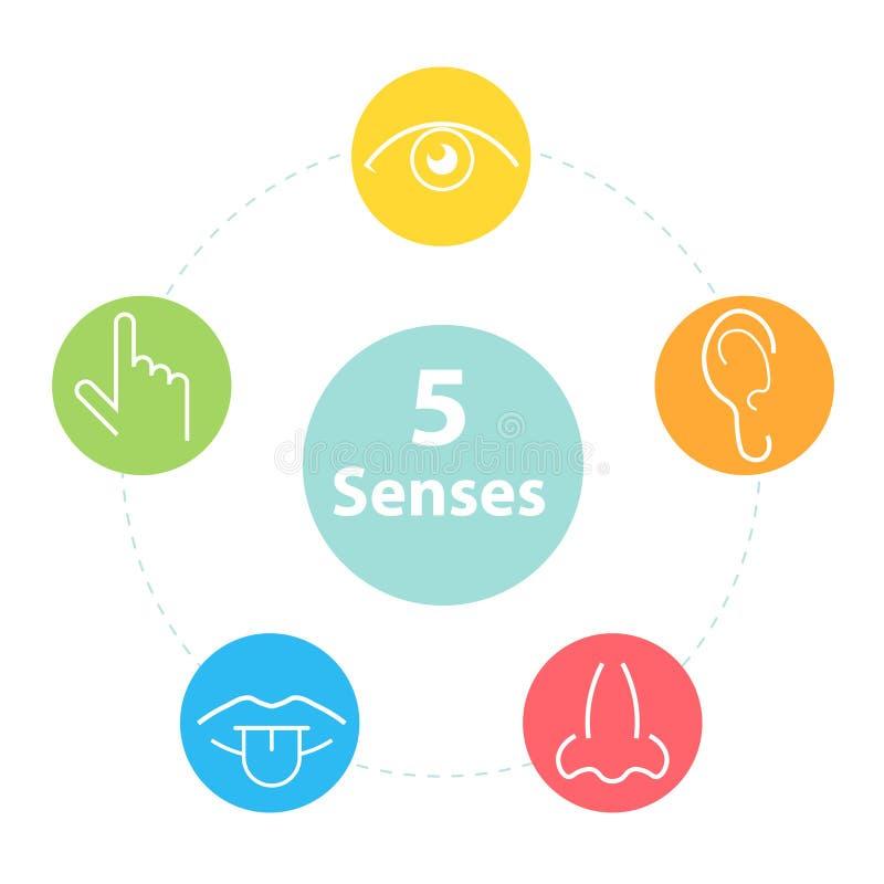 Cinco iconos de los sentidos stock de ilustración