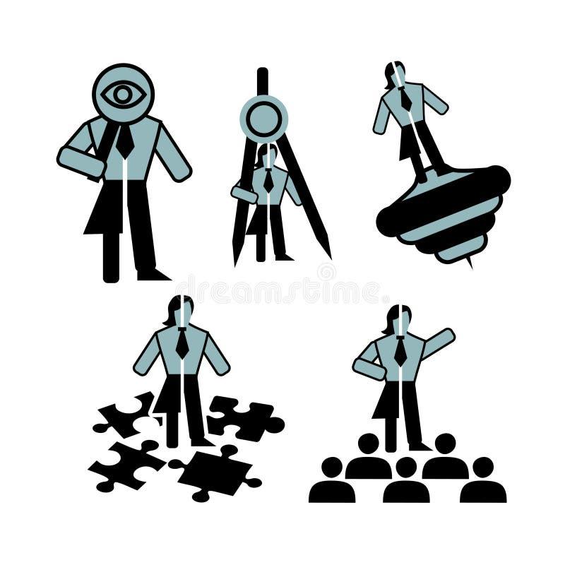 Cinco iconos neutrales azul oscuros del negocio de las calidades personales del líder ilustración del vector
