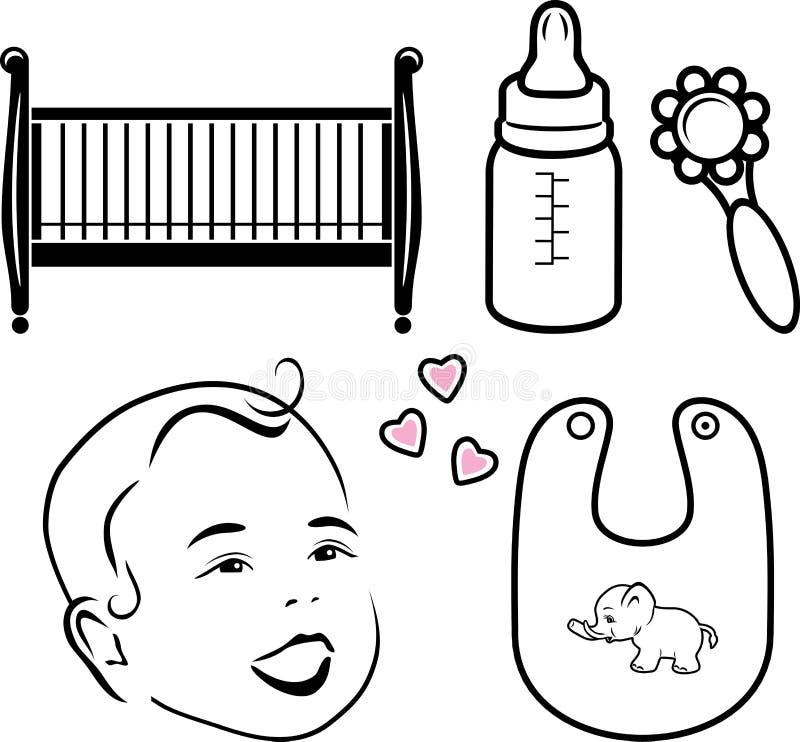 Cinco iconos para la tienda del bebé del web stock de ilustración