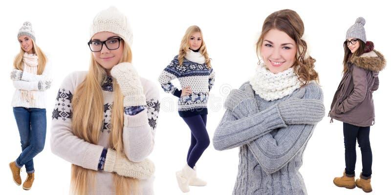 Cinco jovens mulheres na roupa do inverno isolada no branco imagens de stock