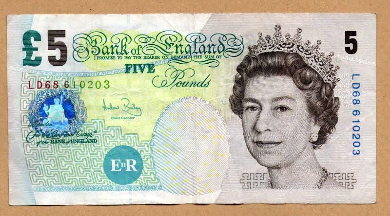Cinco libras imagem de stock royalty free