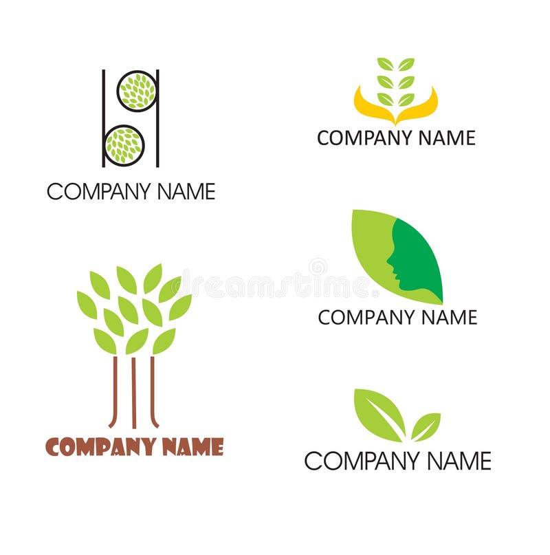 Cinco logotipos temáticos de la hoja ilustración del vector