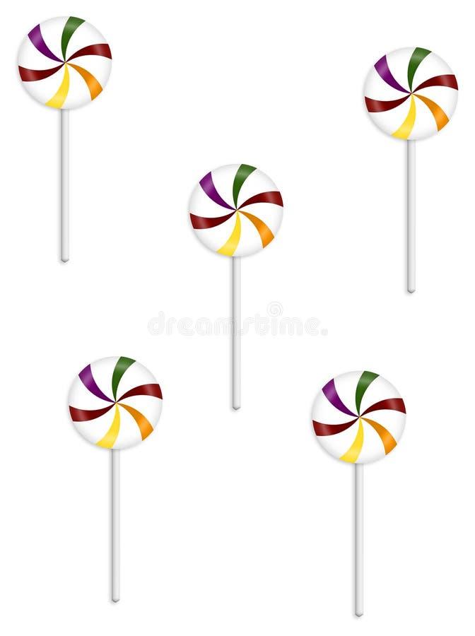 Cinco Lollipops ilustração stock