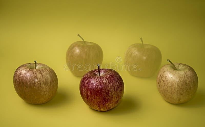 Cinco manzanas cada uno con diversa calidad imágenes de archivo libres de regalías